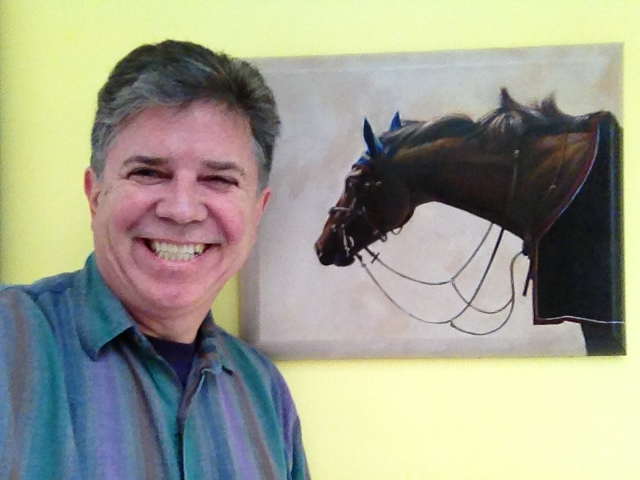 "Steve Parton with ""Blue Ears • winner of the Newington Award in AAPL's Grand National and Audubon Artist's Beatrice Jackson Award for oils."
