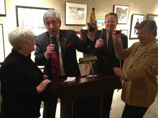 A toast to Tom and club memories. L-R: Liz Taffe, Del Bach, Bill and Sharon Howard.