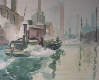 """Tugboat"" (1940's) Henry Gasser • Watercolor (20"" x 23"" framed) $2350"