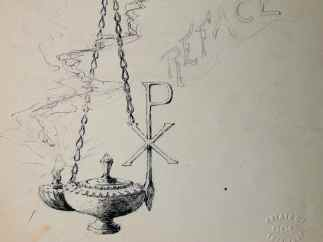 """Oil Lamp"" by Colin Campbell Cooper • Graphite and Ink (9 1/2"" x 8 3/4"") $785"