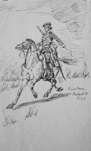 """Soldier on Horseback: American Revolution Scenes"" (1888) F. Luis Mora • Pen & Ink Drawing (7"" x 5 7/8"") SOLD"