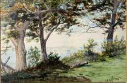 """From Peak Island, Maine"" (1880) Frank Knox M. Rehn • Watercolor (9"" x 14"") Gold Leaf (24k) Hand Carved Frame $1385"