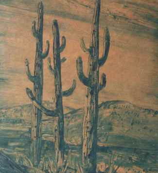 """Three Cacti Arizona"" (1940) Xavier J. Barile • Color Monotype (12"" x 8 1/2"") $585"