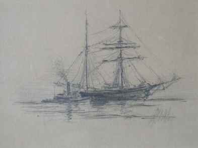 """Tugboat and Brig"" (1889) Reynolds Beal • Graphite (4"" x 6"") SOLD"