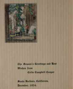 """Christmas Card"" (1924) Colin Campbell Cooper • Watercolor (5 1/2"" x 4"") mounted together with 1927 Christmas Card • SOLD"