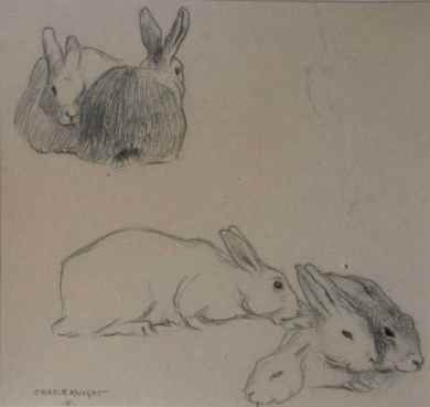 """Rabbits"" (1886) Charles R. Knight • Graphite (6 1/2"" x 7"") SOLD"