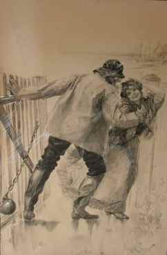 """Swung back the gate..."" (1898) Malcolm Fraser • Graphite and Ink Wash (16 1/2"" x 11"") SOLD"