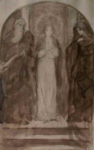 """Rosa Mystica Study"" (c.1900) August V. Tack • Graphite and Ink Wash (10"" x 6 1/2"") $750"