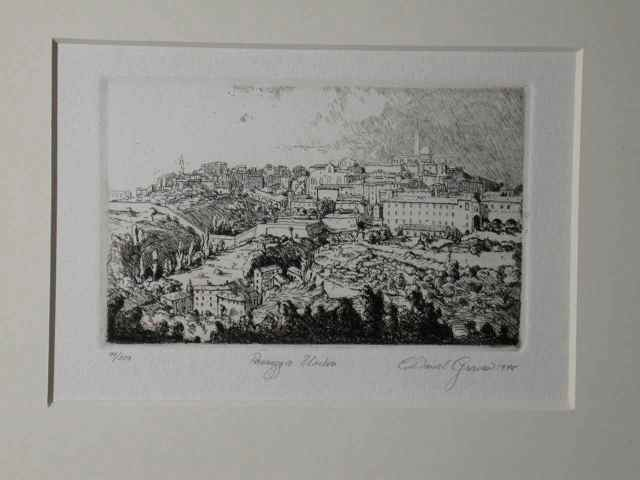 """Passegio Umbria"" (1978) Daniel Graves (edition 99/200) Etching (3"" x 4 1/2"") $415"