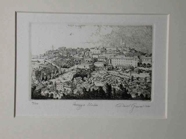 """""""Passegio Umbria"""" (1978) Daniel Graves (edition 99/200) Etching (3"""" x 4 1/2"""") $415"""