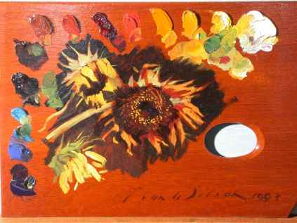 """Palette with Sunflowers - Sketch"" (1993) Evan Wilson • Oil (8"" x 12"") $485"