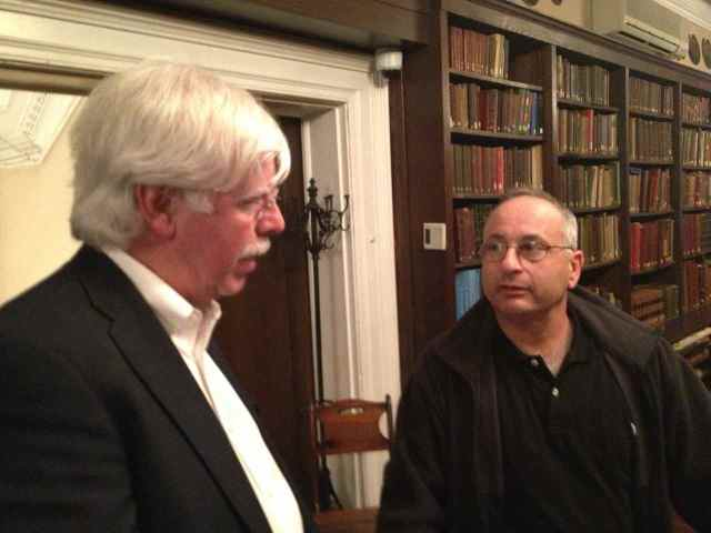 Tim Newton & Michael Budden in the SCNY library.