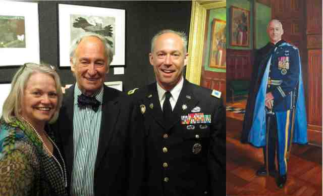 L-R: Betsy Ashton, NAC President Thomas Pike, Sr. and Col. Thomas Pike, Jr. at the unveiling of Betsy's portrait of the Colonel at the NAC.