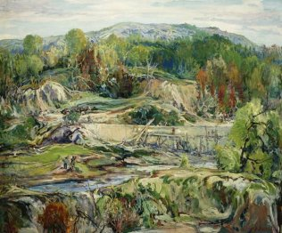 "Building a Dam, Silvermine, CT, Oil, 31""x 37"""