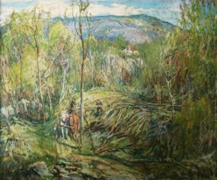 "Logging in The Wilton Woods, Oil (1920), 26"" x 31.75"""