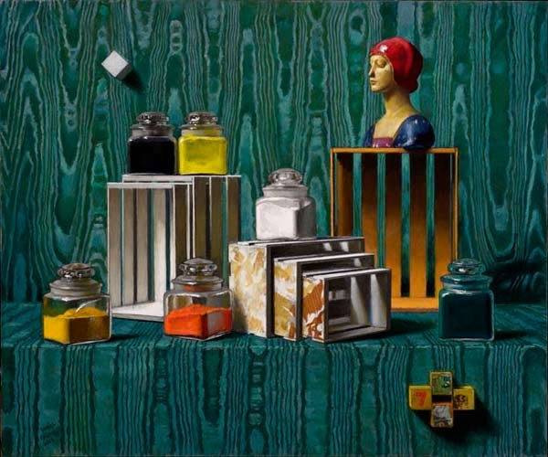 "Daniel Greene, ""Pigment Jars, Boxes and Statue,"" pastel, 30 x 36 in."